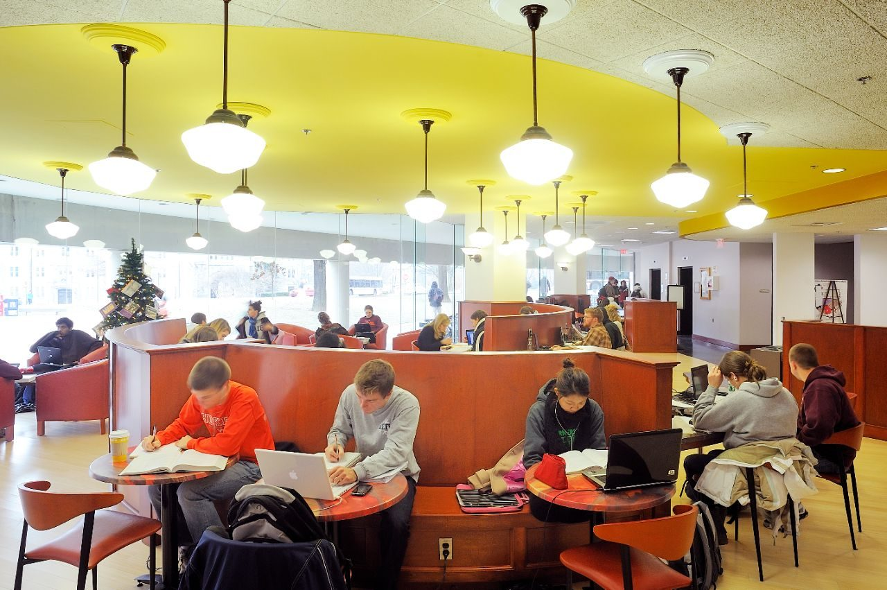 Students studying in a cafe.