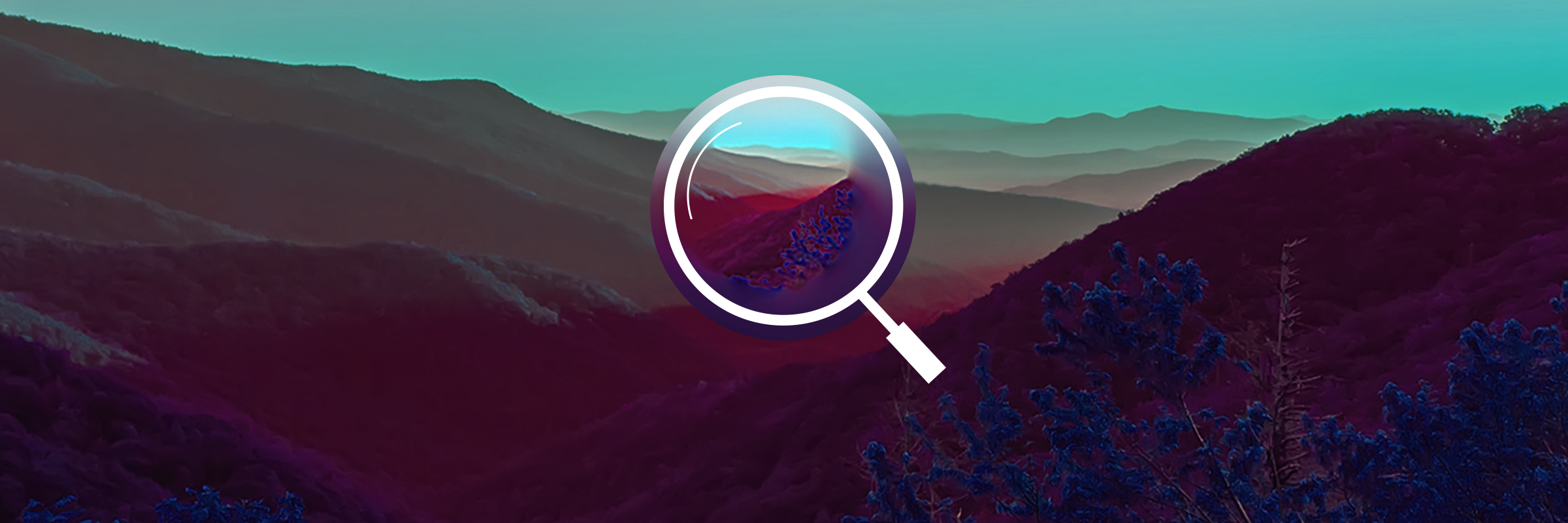 "A magnifying glass overtop a landscape to represent ""discovery"""