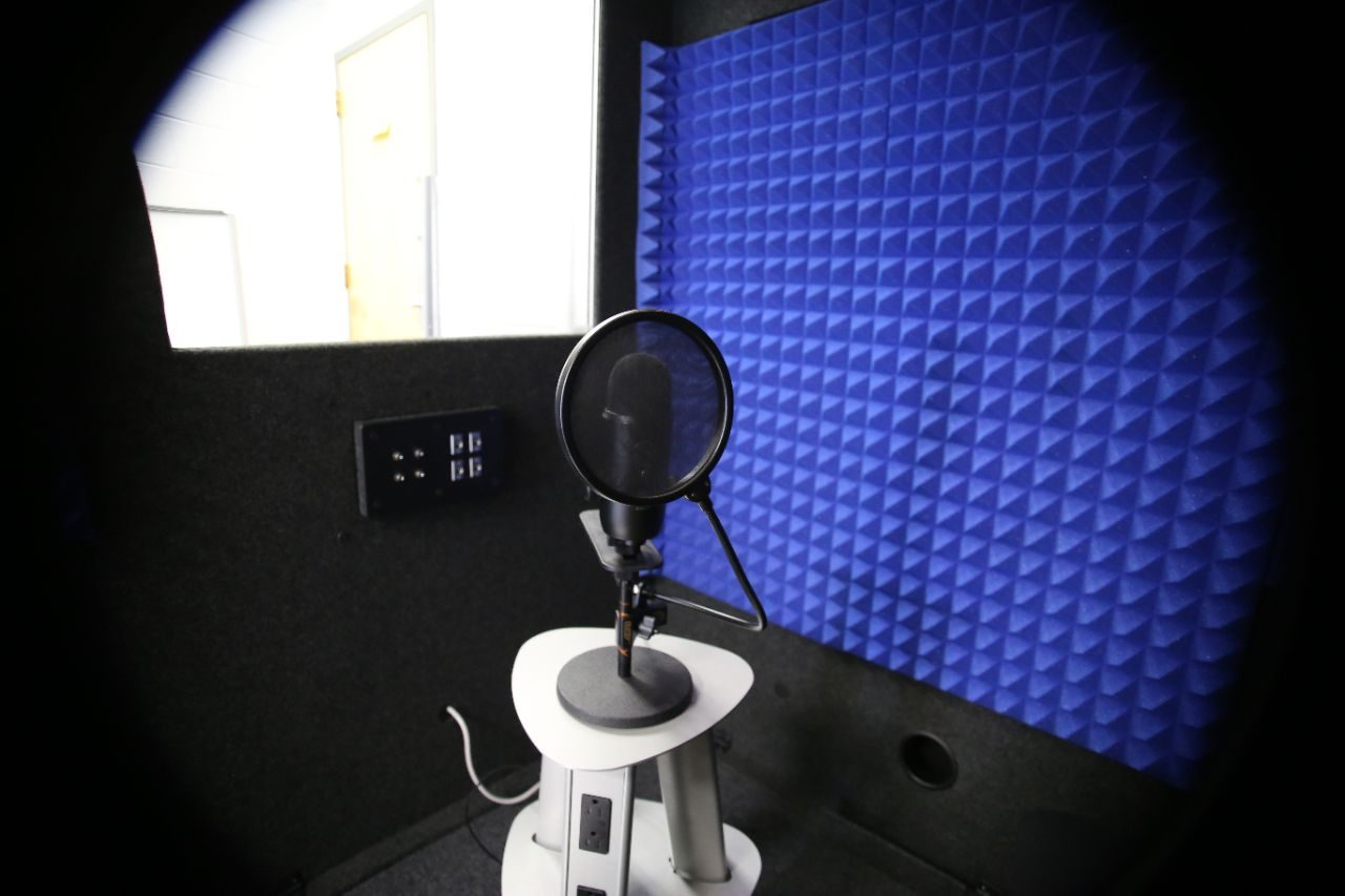 A stand microphone and wind blocker in a sound booth.