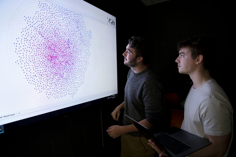 Two male students looking at a data visualization on a large screen.